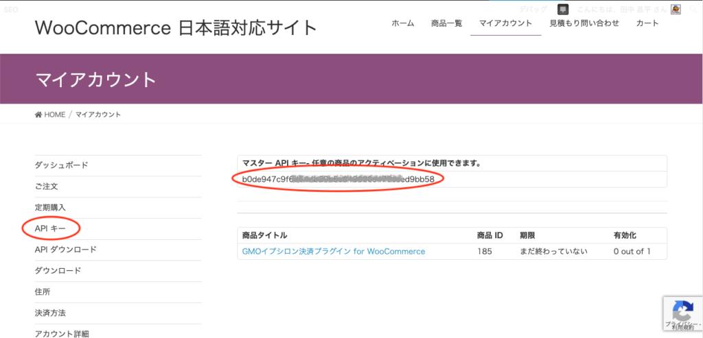 定期購入の API キーの確認